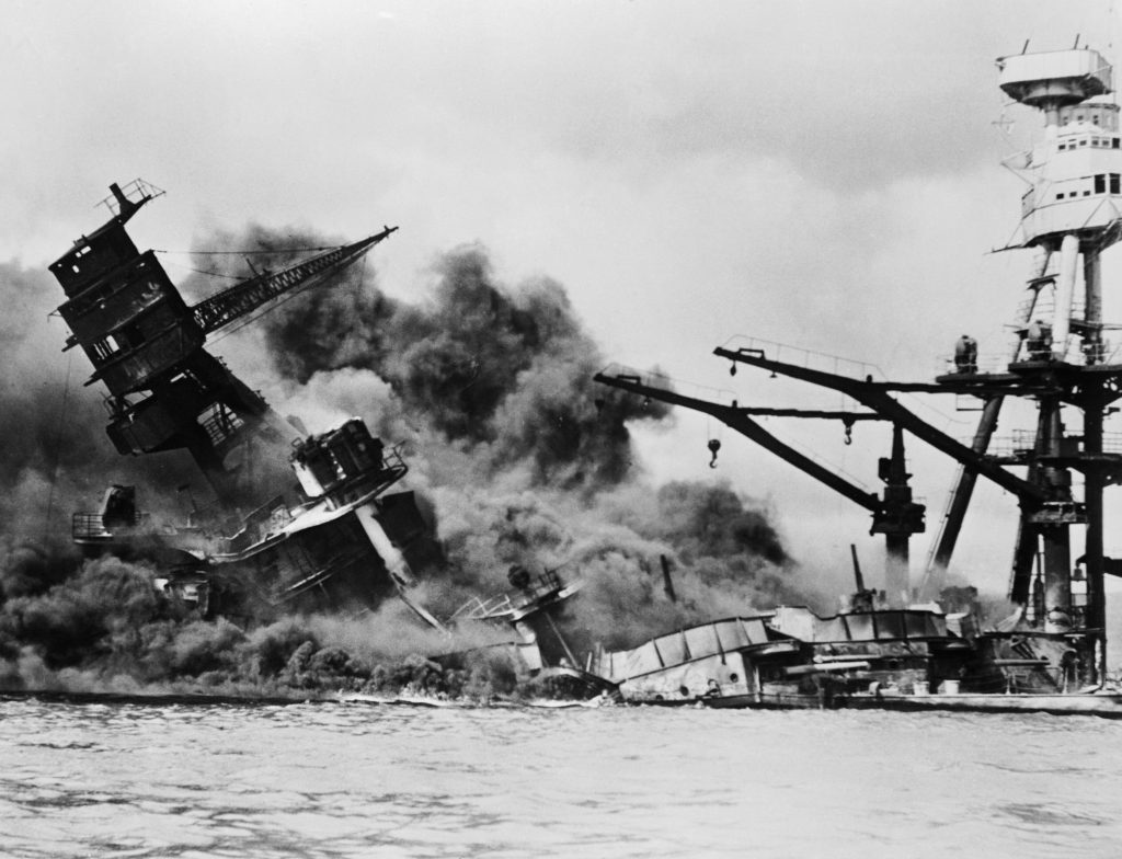 07 Dec 1941 ---  Mortally Wounded and Sinking --- Image by © Bettmann/CORBIS