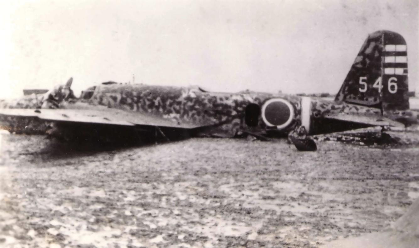北飛行場に強行着陸した日本軍爆撃機