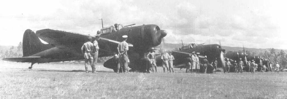 い号作戦時の日本海軍艦上爆撃機の部隊(ブナカナウ基地)
