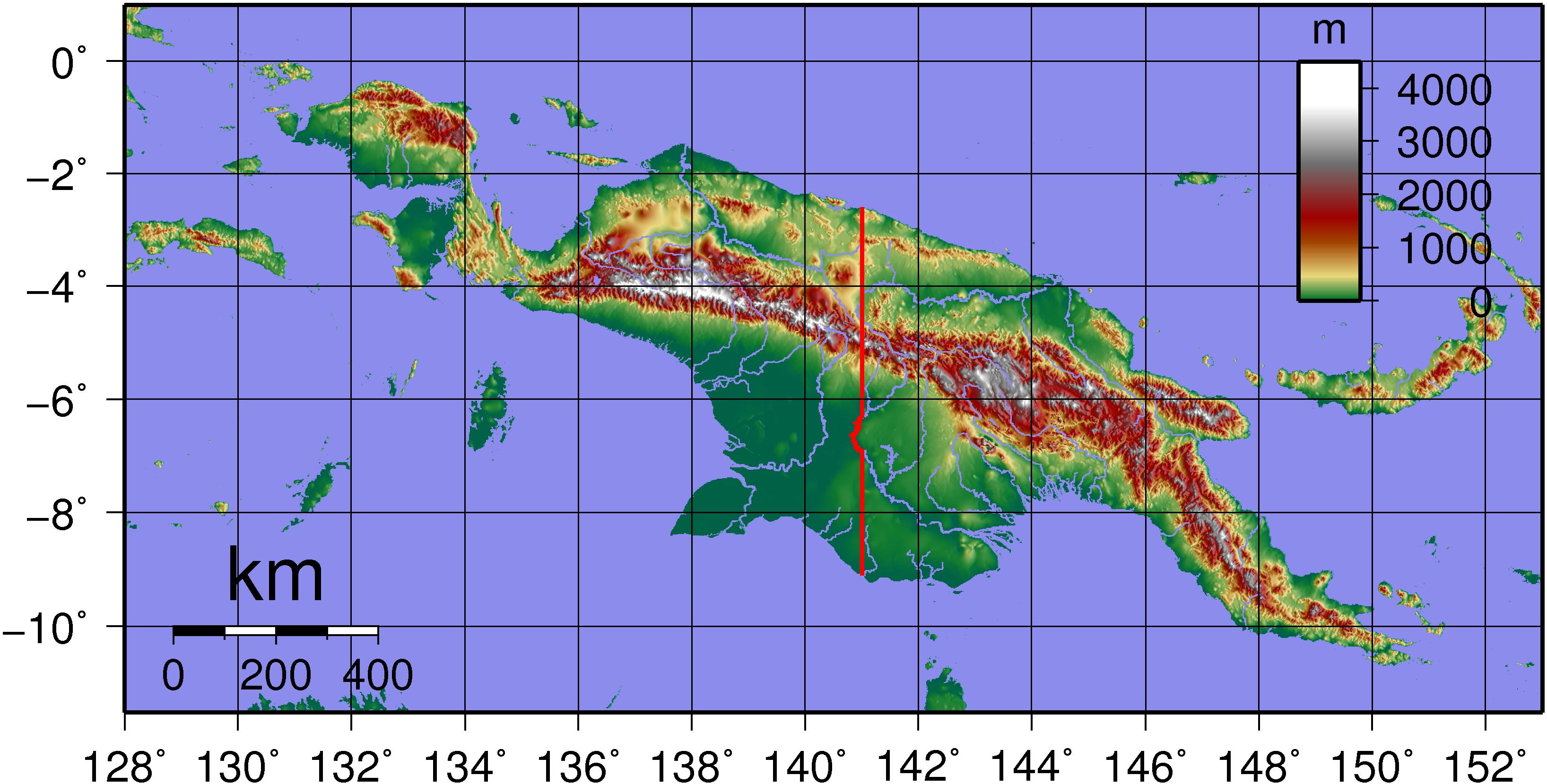 ニューギニア島の地形図