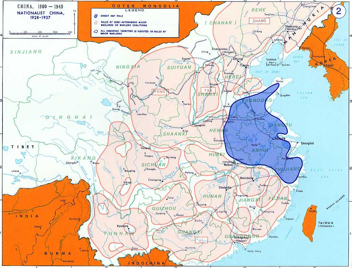北伐終了後(1928年)の中国の勢力範囲図