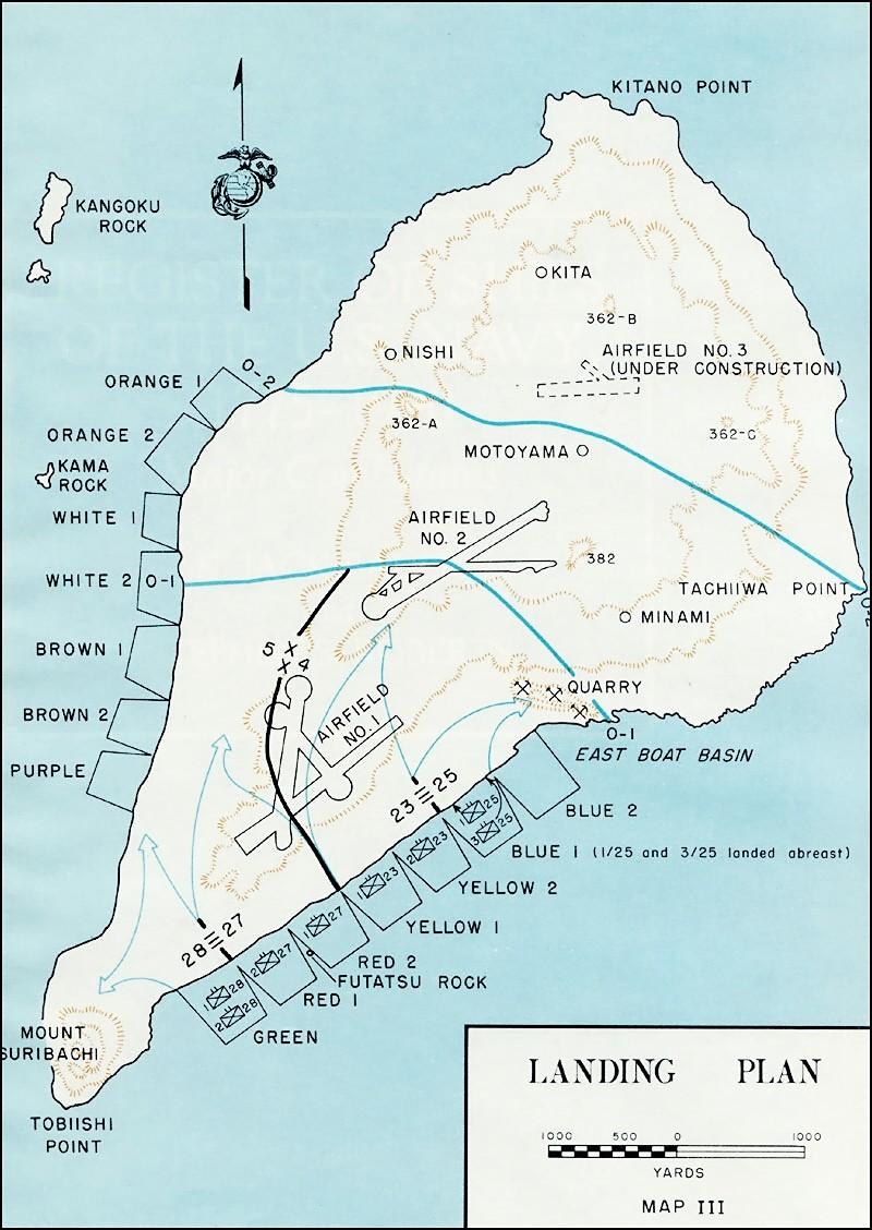 アメリカ軍の硫黄島上陸計画図